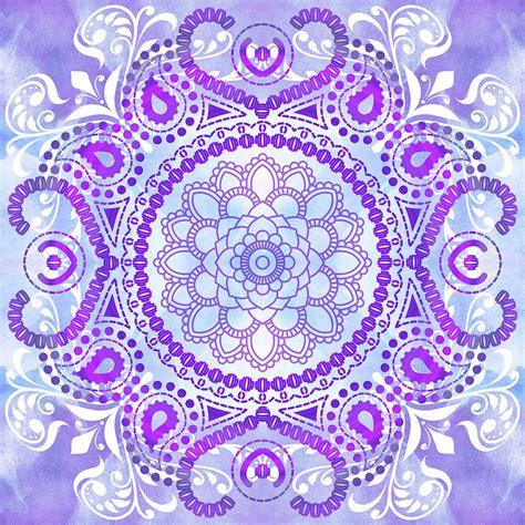 Shower Curtain 78 purple lotus mandala digital art by tammy wetzel
