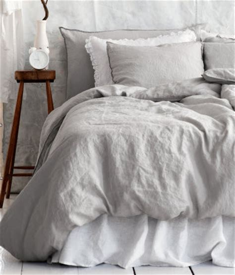 Linen Duvet Cover Set, Light Gray  Traditional Duvet