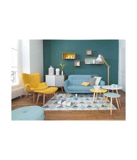 deco cuisine scandinave petit fauteuil en tissu jaune vintage maison du monde