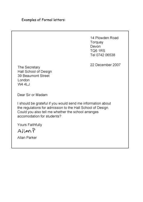 formal letter  classroom idea business letter