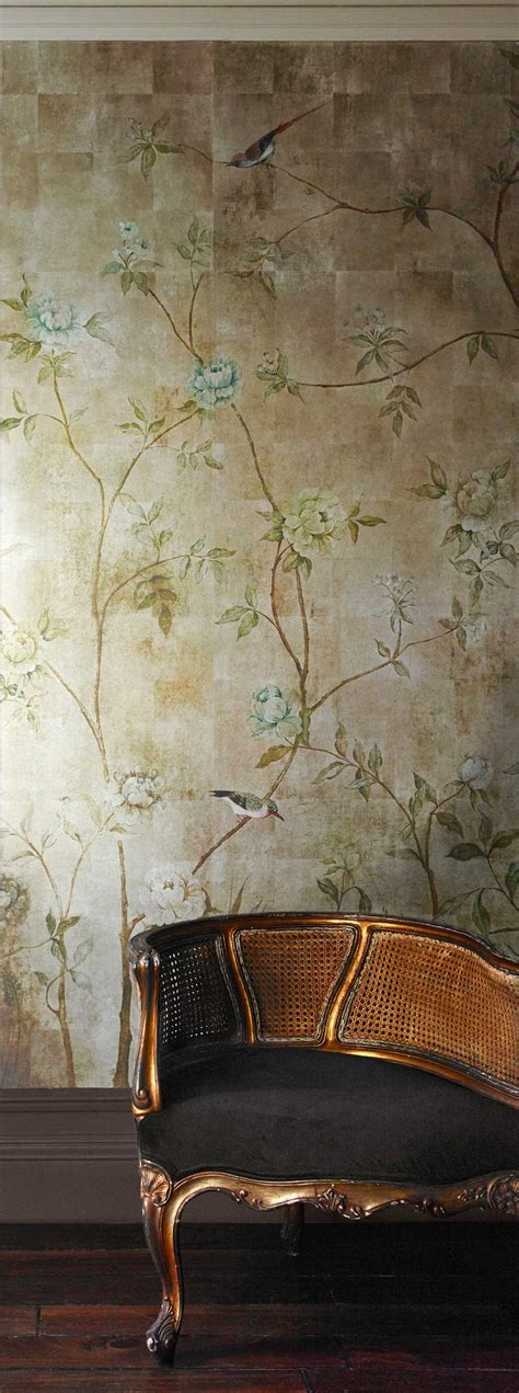 chinoiserie  sidney paul  gold mural wallpaper