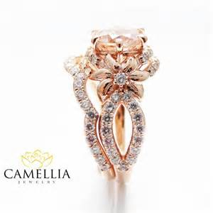 floral wedding band gold bridal ring set unique morganite bridal ring set 14k gold flower
