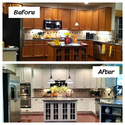 refinish kitchen cabinets ideas oak kitchen cabinets painted before and after home photos