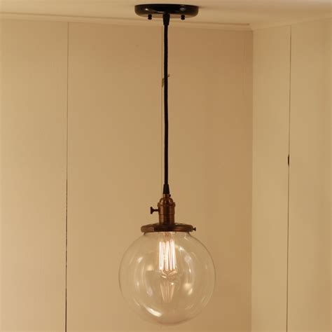 hanging pendant light fixture with 8 quot glass globe shade