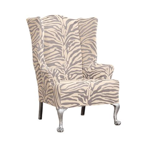 sure fit wing chair slipcover sure fit stretch zebra wing chair slipcover ebay