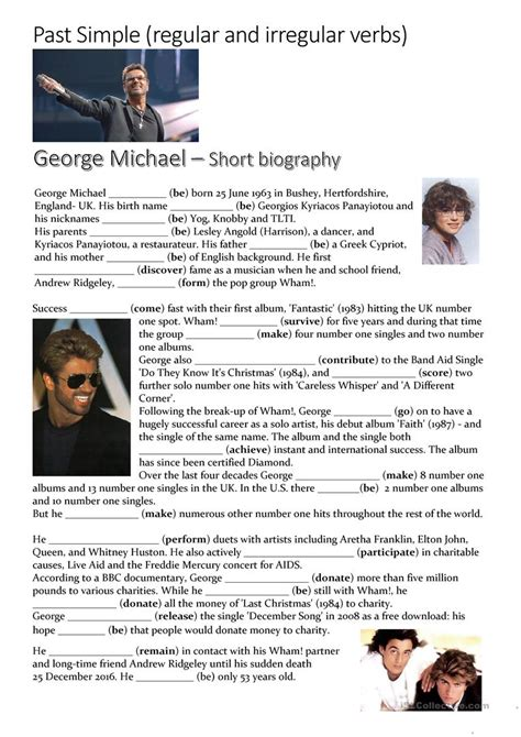 Past Simple  George Michael Short Biography Worksheet  Free Esl Printable Worksheets Made By