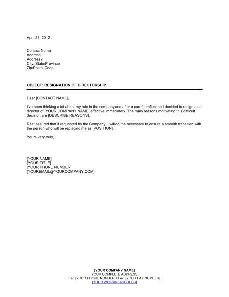 resignation  directorship template word