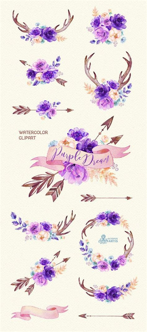 purple dream watercolor floral clipart peony arrows antlers bouquets wedding flowers