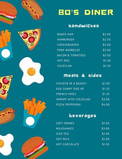 customize  diner menu templates  canva