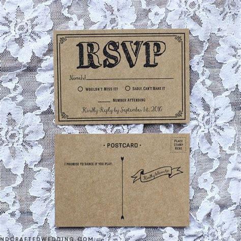 rustic diy rsvp postcard  kraft paper