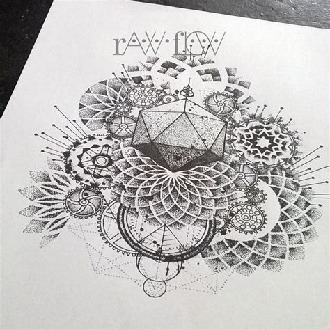 abstract dotwork mandala tattoo gears  cogs geometry