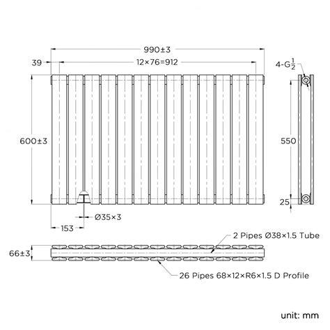 gloss white double flat panel horizontal radiator xmm