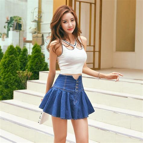 2016 Summer Style Women Vintage High Waist Denim Skirt Pleated Flared u2013 Raja Indonesia