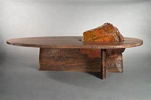 cleft coffee table solid wood coffee table seth rolland With wood and stone coffee table