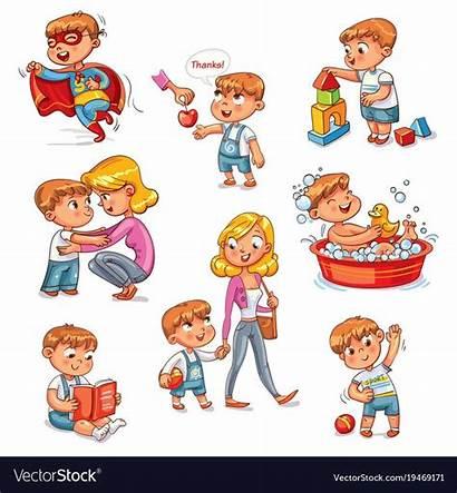 Routine Daily Cartoon Activities Kid Vector Boy