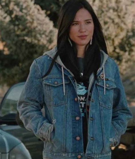 yellowstone monica dutton jacket denim kelsey asbille series tv jackets worn