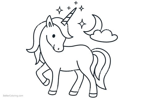 cartoon chibi unicorn coloring pages  printable