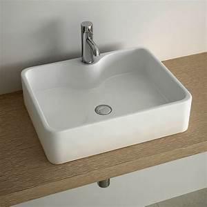 vasque a poser rectangulaire 49x38 cm plage robinet With salle de bain design avec vasque rectangulaire blanche a poser