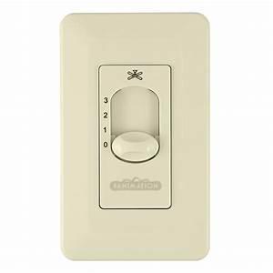 Fanimation cw la ceiling fan wall control light almond finish