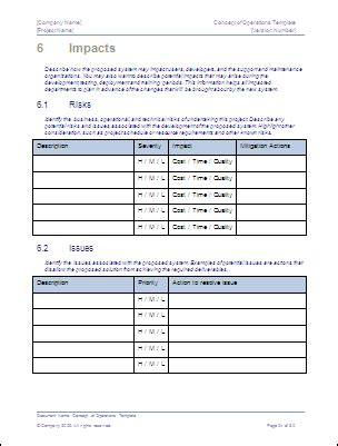 conops template concept of operations template ms word sle templates