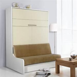 Lit Avec Tv Escamotable : meuble lit escamotable avec banquette groove ~ Nature-et-papiers.com Idées de Décoration