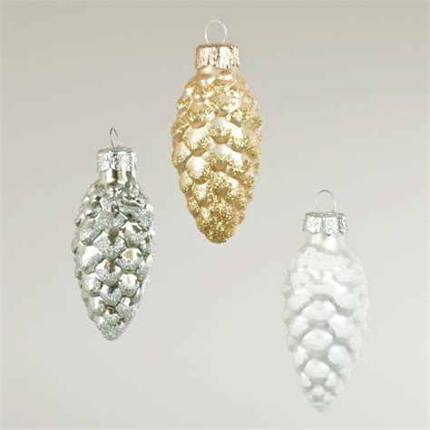 boxed glass pinecone ornaments set of 3 world market