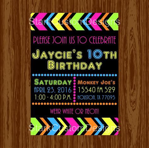 neon birthday party invitation glow   dark