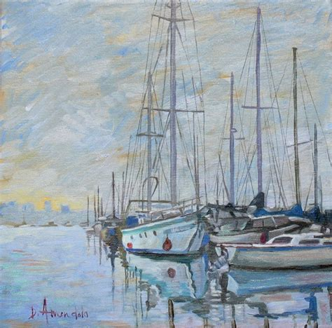 Sailboat Oil Painting by Sailboats On A Foggy Day Seascape Sailboats Oil