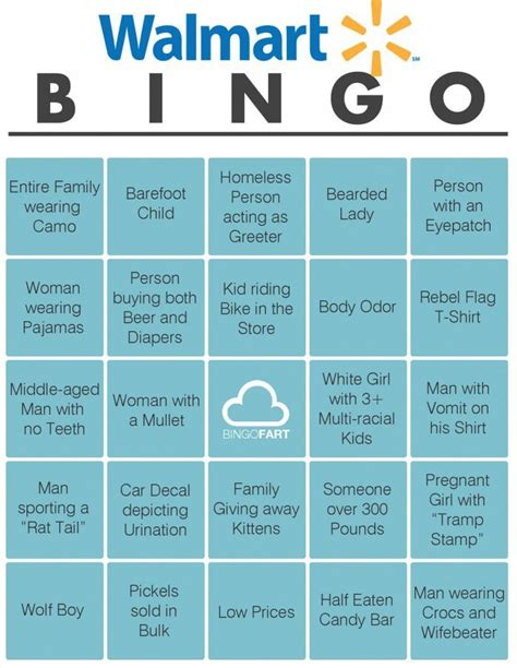 Mindless Drivel Makes Me Giggle: Walmart Bingo Card