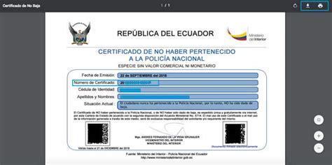 certificado de no haber sido dado de baja de la polic 237 a 2019