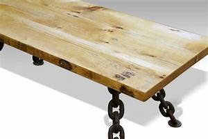 Rustic coffee table with nautical anchor chain legs olde for Rustic coastal coffee table