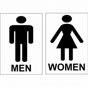 Toilet signs set men and women or ladies and gents 100mm for Men and women bathroom symbols