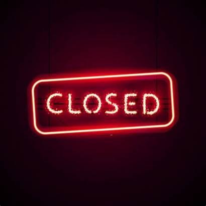 Neon Closed Sign Glowing Rainbow Illustration Glitter