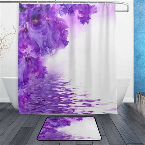Purple Flower Shower Curtain by Purple Flower Shower Curtain And Mat Set Floral Irises
