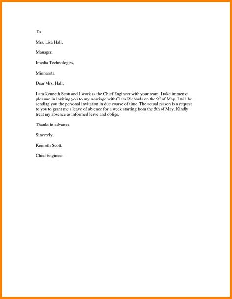 letter format  vacation leave email  samples