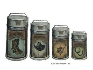 Western Kitchen Canister Sets by Tin Metal 4 Pc Western Country Metal Kitchen Canisters