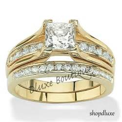 cz wedding ring sets 39 s 14k gold plated princess cut aaa cz wedding ring set size 5 6 7 8 9 10 ebay