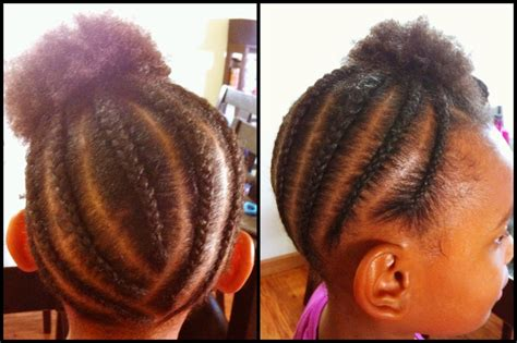 Little Girls Natural Hairstyle. Quick Cornrows