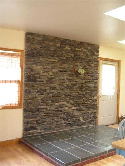 build  stone veneer wood stove backing hunker