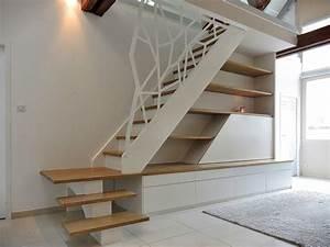Marche D Escalier En Chene : escalier quart tournant avec marches en ch ne garde corps en acier d coup agencement sous ~ Melissatoandfro.com Idées de Décoration