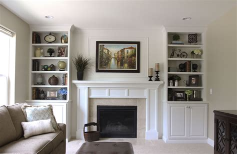 Living Room With Fireplace And Bookshelves by Downers Grove Residence Chicago Traditional