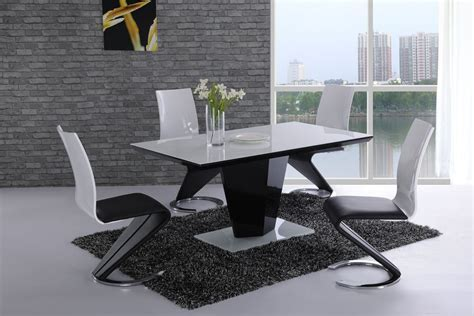 Cream dining set, black high gloss dining table high gloss