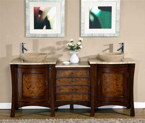double vessel sink vanity 72 quot modern bathroom travertine stone top double vessel