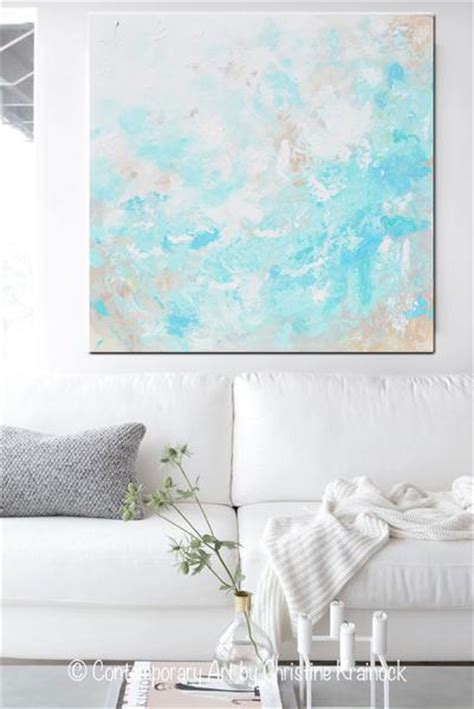 original art blue abstract painting modern coastal aqua