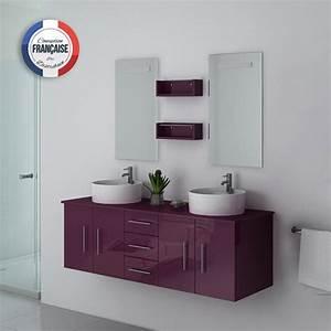 Meuble Double Vasque Suspendu : meuble double vasque suspendu aubergine meuble double vasque suspendu de salle de bain ~ Melissatoandfro.com Idées de Décoration
