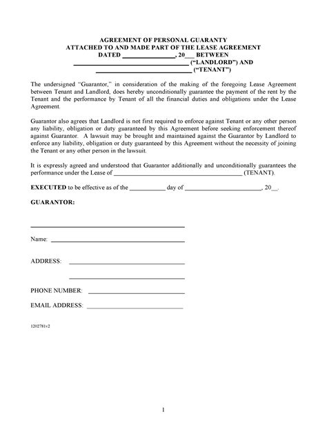 Template Personal Guarantee Agreement Template Free Agreement Of Personal Guaranty Pdf Template Form