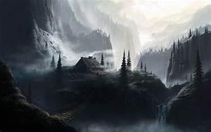 Dark, Houses, Fantasy, At, Waterfalls, Wallpapers, Hd, Desktop