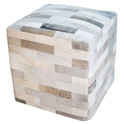 cowhide cube ottoman gray - Cowhide Cube Ottoman
