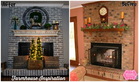 Painted Brick Fireplace Farmhouse Inspiration Shabby Paints