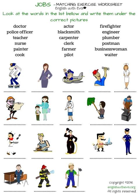 Learning English, Vocabulary Worksheet, Jobs, Matching Exercise, English With Eva Learning